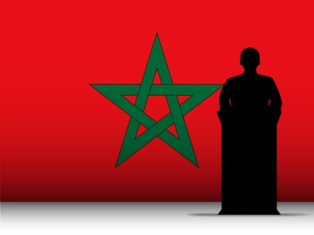 Vector - Morocco  Speech Tribune Silhouette with Flag Background Vector