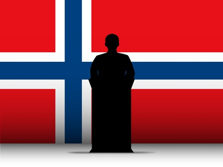 Vector - Norway  Speech Tribune Silhouette with Flag Background Vector