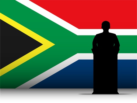 voter: Vector - South Africa  Speech Tribune Silhouette with Flag Background Illustration