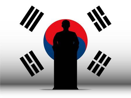 business meeting asian: Vecteur - Sud Cor�e du discours Tribune Silhouette avec le fond de drapeau Illustration