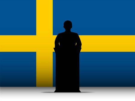 Vector - Sweden  Speech Tribune Silhouette with Flag Background Vector