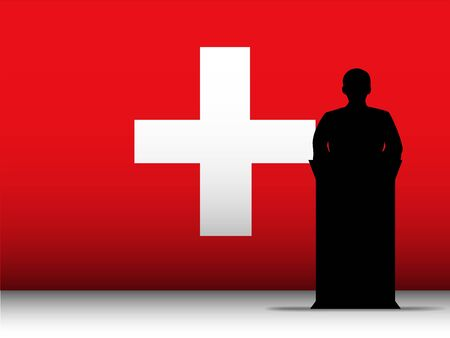 Vector - Switzerland  Speech Tribune Silhouette with Flag Background Stock Vector - 13444204