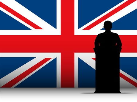 election debate: Vector - United Kingdom  Speech Tribune Silhouette with Flag Background