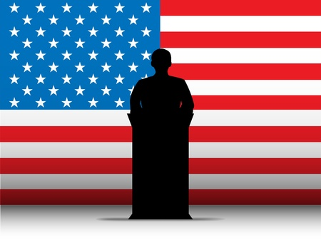 presidential: Vector - United States of America  Speech Tribune Silhouette with Flag Background Illustration
