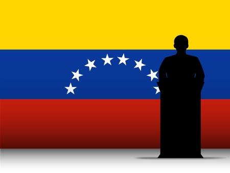 venezuelan: Vector - Discurso Venezuela Tribune silueta con el fondo de la bandera