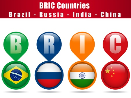 Vector - BRIC Countries Buttons Brazil Russia India China Illustration