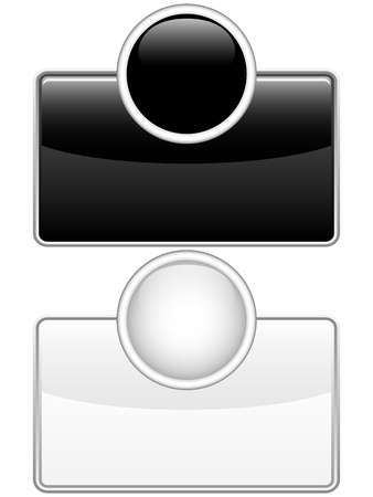 reflection internet: Vector - Glossy web buttons black and white