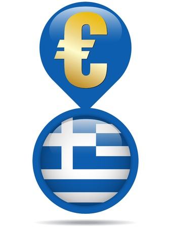 greek currency: Vector - Flag Button Greece Euro Crisis Illustration