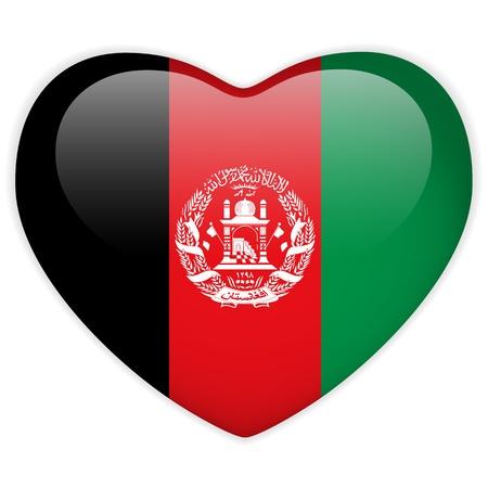 afghanistan: Vector - Afghanistan Flag Heart Glossy Button