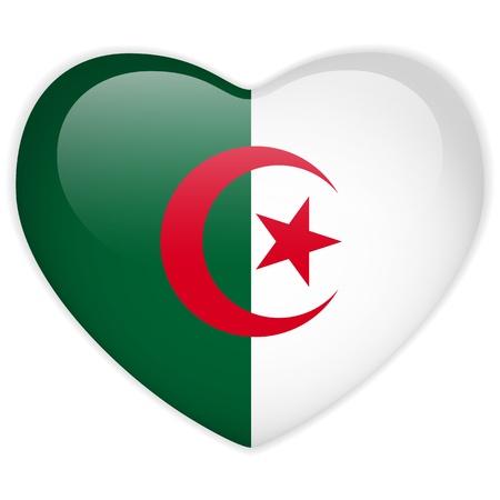 algeria: Vector - Algeria Flag Heart Glossy Button Illustration