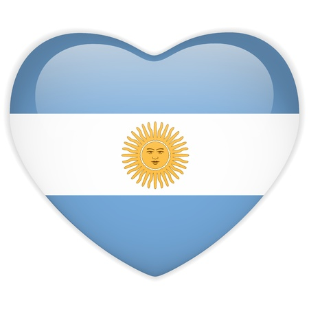 argentina flag: Vector - Argentina Flag Heart Glossy Button Illustration