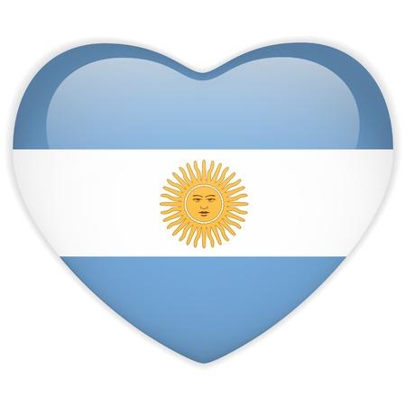 bandera argentina: Vector - Bandera Argentina botón del corazón brillante Vectores