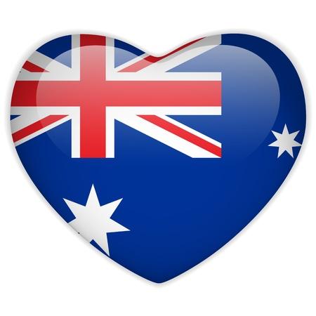Австралия: Vector - Австралия Флаг сердце Глянцевые кнопки Иллюстрация