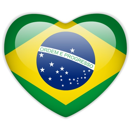 flag vector: Vector - Brazil Flag Heart Glossy Button