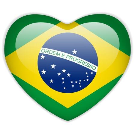 brazilian: Vector - Brazil Flag Heart Glossy Button