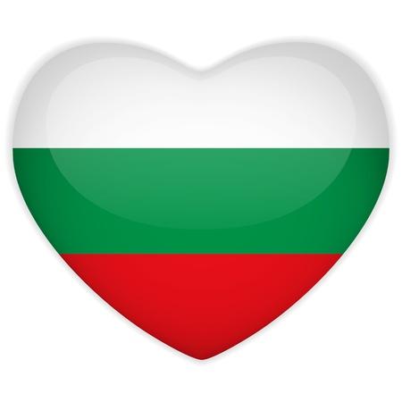 bulgaria: Vector - Bulgaria Flag Heart Glossy Button