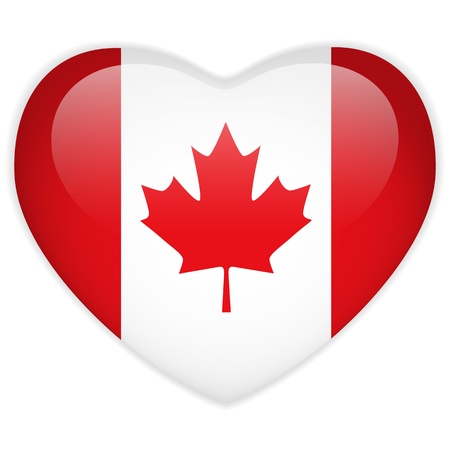 canada country: Vector - Canada Flag Heart Glossy Button Illustration