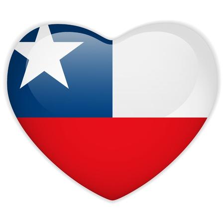 chilean flag: Vector - bandera de Chile bot�n del coraz�n brillante