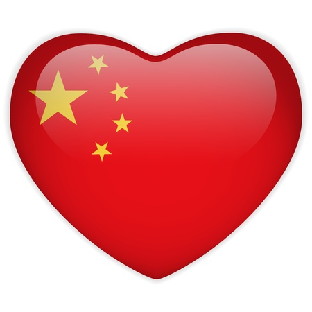 Vector - China Flag Heart Glossy Button Vector