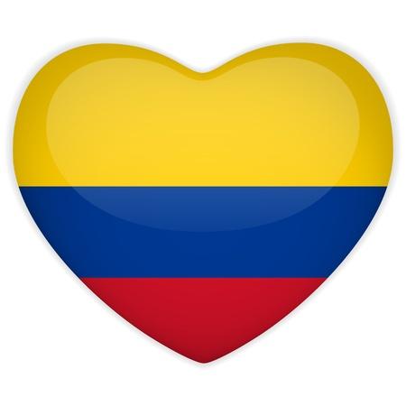 la bandera de colombia: Vector - Bandera del coraz�n de Colombia Bot�n Brillante