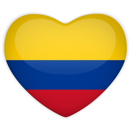Vector - Colombia Flag Heart Glossy Button Stock Vector - 13546348