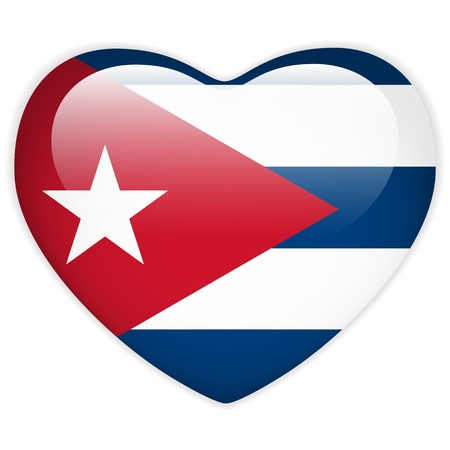 bandera cuba: Vector - bandera de Cuba bot�n del coraz�n brillante