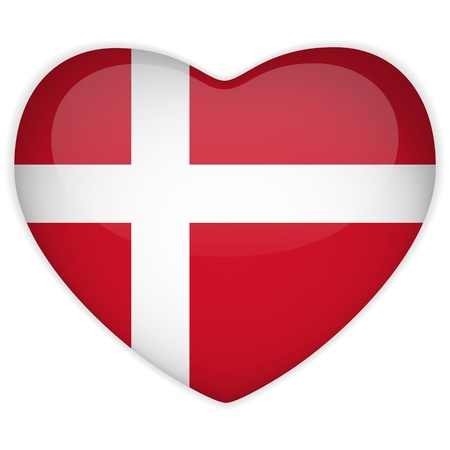 Vector - Denmark Flag Heart Glossy Button Vector