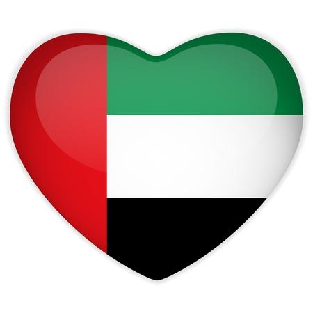 Vector - Bandera Emiratos botón del corazón brillante