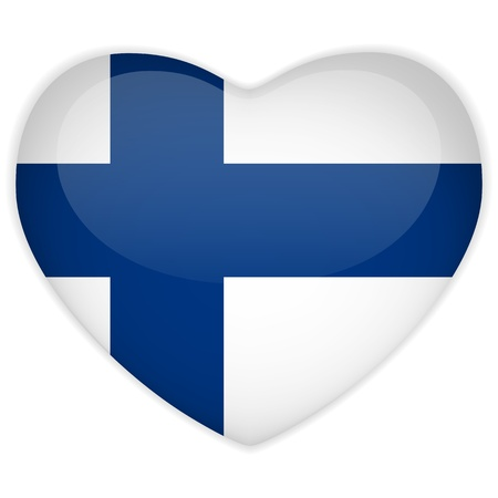 finland: Vector - Finland Flag Heart Glossy Button