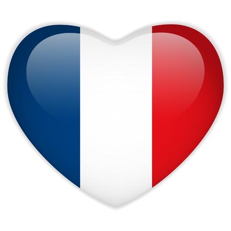 bandera francia: Vector - Bandera Francia bot�n del coraz�n brillante Vectores