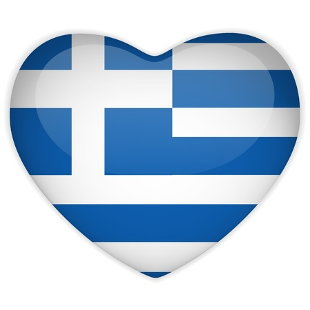 Vector - Greece Flag Heart Glossy Button Vector