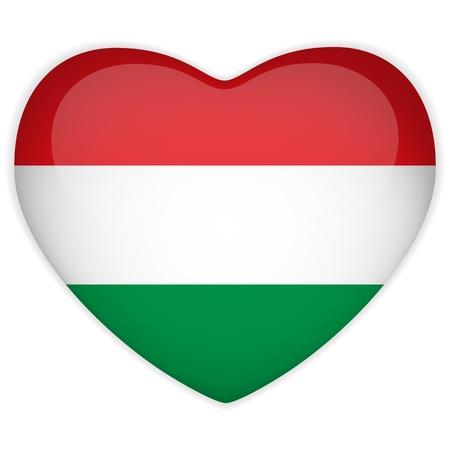 Vector - Hungary Flag Heart Glossy Button Vector