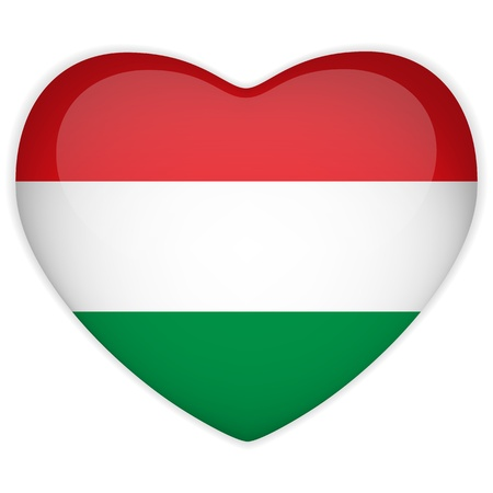 hungarian: Vector - Hungary Flag Heart Glossy Button