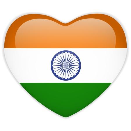 nacional: Vector - Bandera India botón del corazón brillante