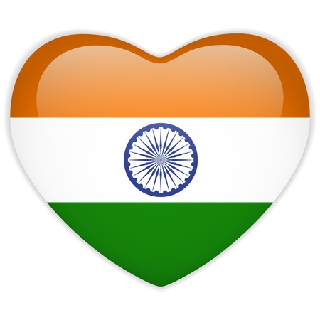 national colors: Vector - India Flag Heart Glossy Button