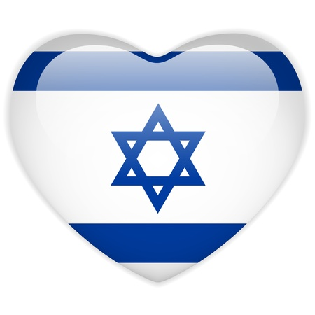 israel jerusalem: Vector - Israel Flag Heart Glossy Button Illustration