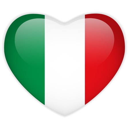 bandera de italia: Vector - Bandera Italia botón del corazón brillante