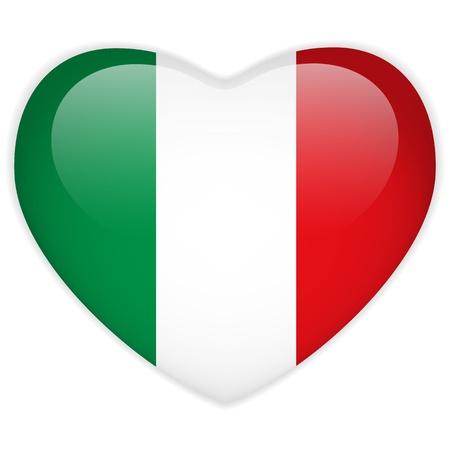 italian flag: Vector - Button Italia Bandiera Cuore Glossy