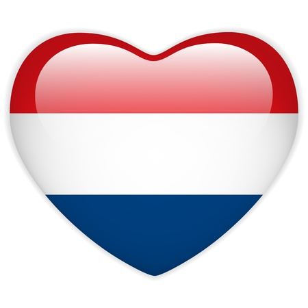 Vector - Netherlands Flag Heart Glossy Button Vector