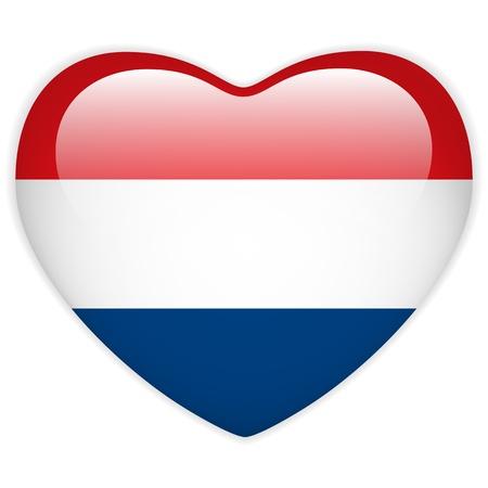 dutch flag: Vector - Netherlands Flag Heart Glossy Button