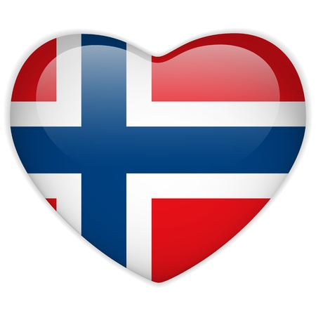 Vector - Norway Flag Heart Glossy Button Vector