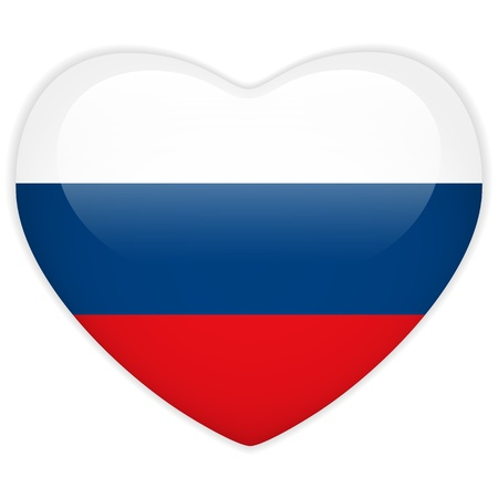 Vector - Russia Flag Heart Glossy Button Stock Vector - 13546320