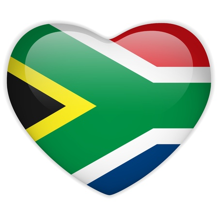 south african flag: Vector - South Africa Flag Heart Glossy Button