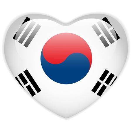 bandiere del mondo: Vector - South Button bandiera Corea del Cuore Glossy