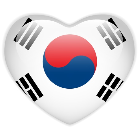 Vector - South Korea Flag Heart Glossy Button Vector