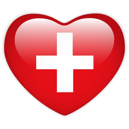 Vector - Switzerland Flag Heart Glossy Button Vector