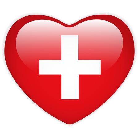 zwitserland vlag: Vector - Zwitserland Hart van de Vlag glanzende knop Stock Illustratie