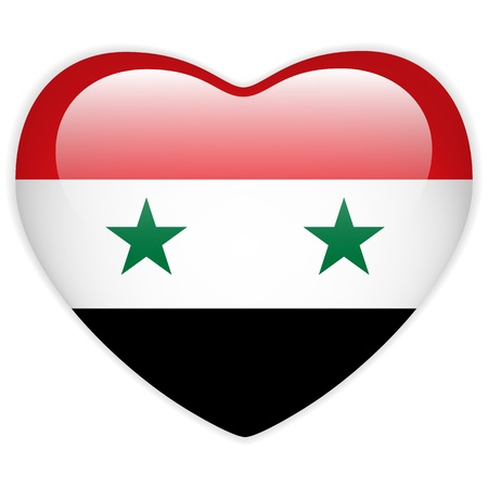 syria: Vector - Syria Flag Heart Glossy Button