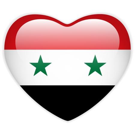 syria: Vector - Syria Flag Heart Glossy Button