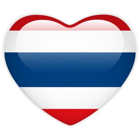 thai flag: Vector - Thailand Flag Heart Glossy Button